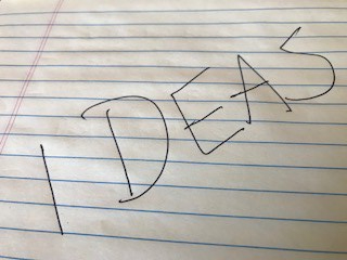 The word ideas written on a yellow legal pad