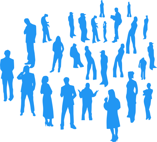 Silhouettes of people standing and thinking