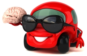This is a car holding a brain . . . kind of like your brain is going on a road trip