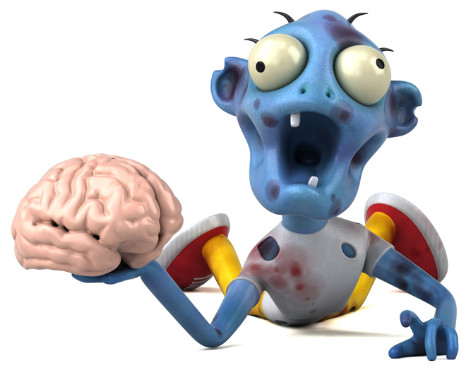 Zombie holding brain mascot is a pun between IT and the It movie series. It's funny word play. Laugh.