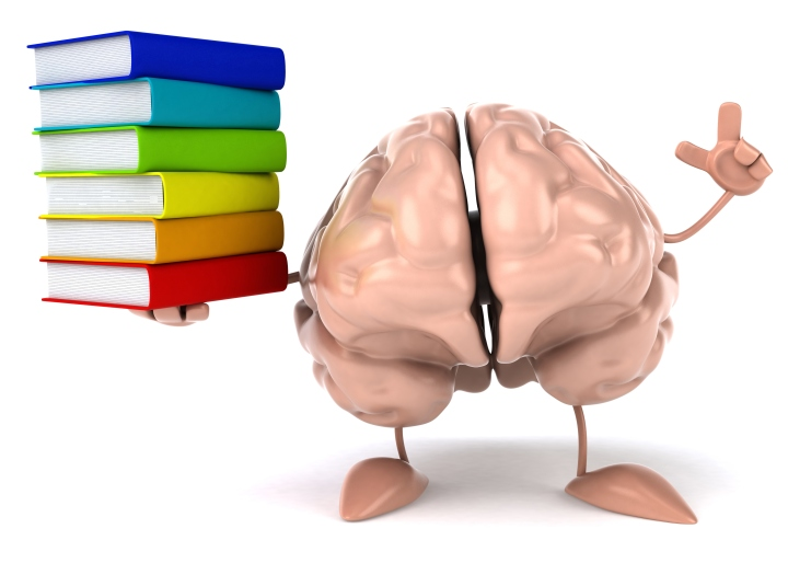 Brain holding books