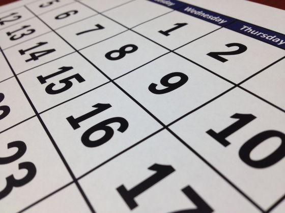 A partial view of a desktop calendar