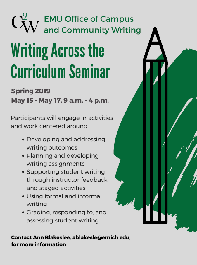 This advertises a Writing Across the Curriculum workshop from May 15 to May 17. Contact Ann Blakeslee at ablakesle@emich.edu for more info.