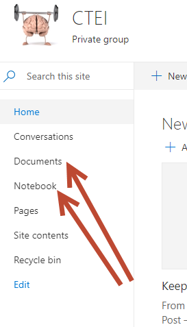 Links to Documents and Notebook appear among other links in a frame on the left of the page.