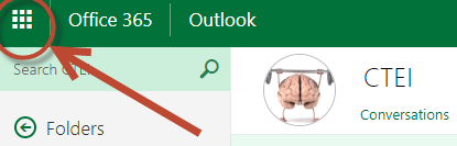Arrow pointing to the nine dots used for visual navigation between Microsoft apps in the browser client