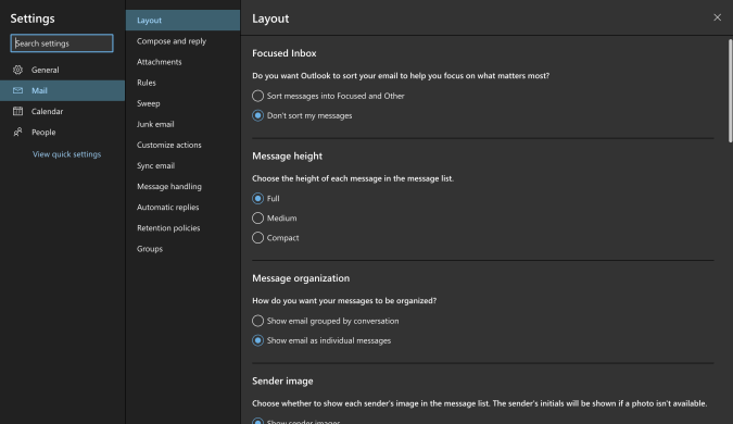 A screen shot of settings showing mail, layout as the location of the setting