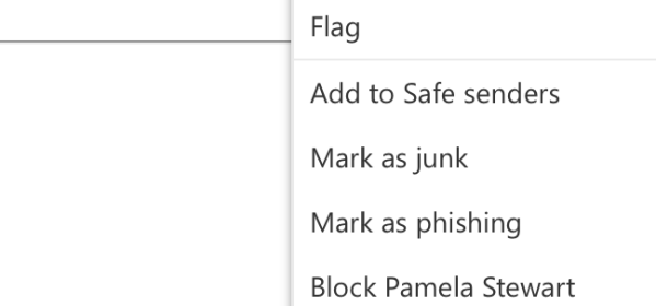 The three dots on a message in the preview pane allow you to block a user.