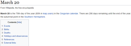 Screen capture of part of the Wikipedia page for March 20
