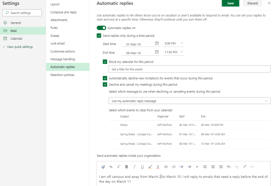 This shows the settings on the Automatic Replies page for Outlook.