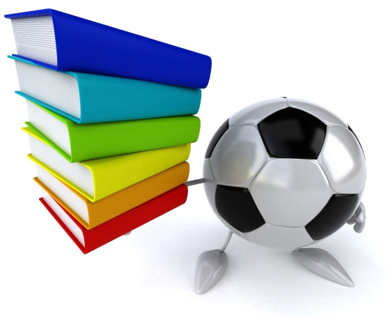 A soccer ball holding books - KICK, library . . . get it?