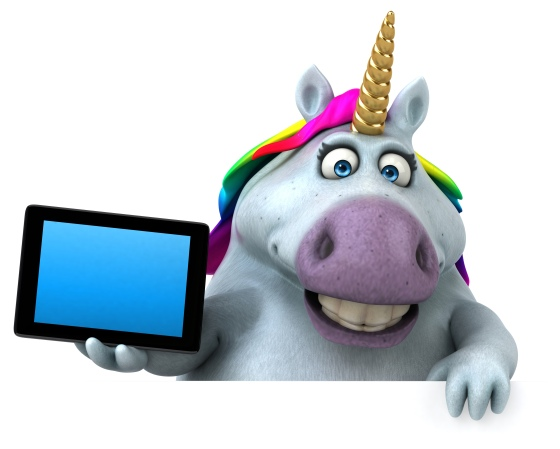 A unicorn holding a tablet