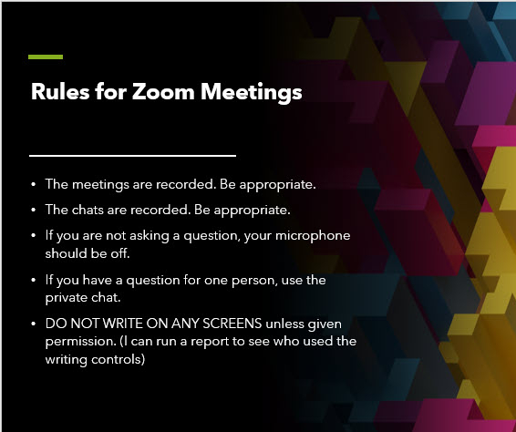 A slide with five rules for Zoom meetings