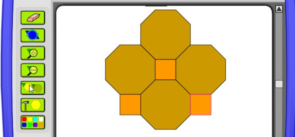 Some squares and octagons covering part of the screen. This is an example in the video.
