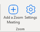 A picture of the button to click to add Zoom to a meeting invite