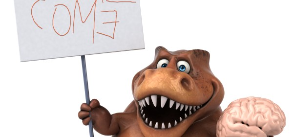 Dinosaur holding a brain and a sign with please come quaintly spelled